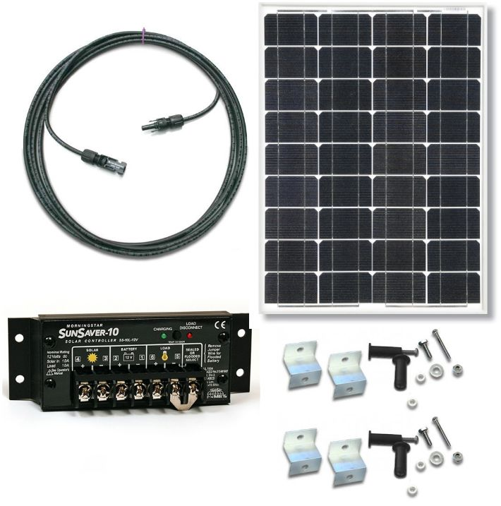 Rv50 Ss6 Solar Panel 50w Rv Kit With 6a 12vdc Pwm Sunsaver